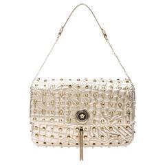 VERSACE Gold Studded Leather Barocco Embroidered Vanitas Bag