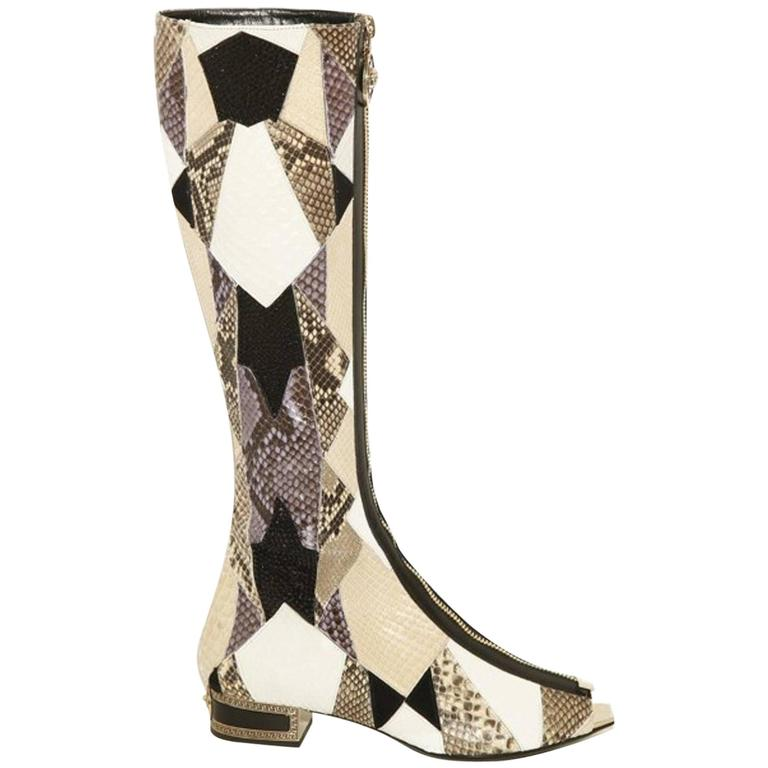 New VERSACE Crystal Embelished Python Gladiator Boots