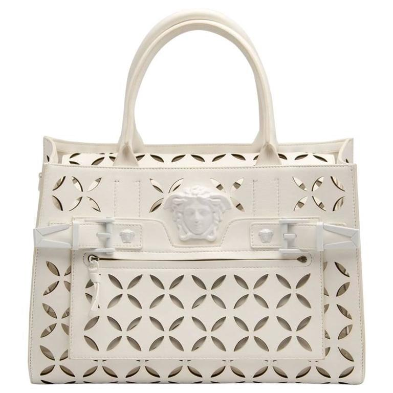 Versace Palazzo Perforated Leather Tote Bag For Sale at 1stdibs 49d465ba887e4