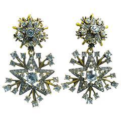 Signed Oscar De La Renta Firework Crystal Drop Clip Earrings