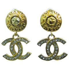 Vintage Authentic Chanel Double C Dangle Drop Earring