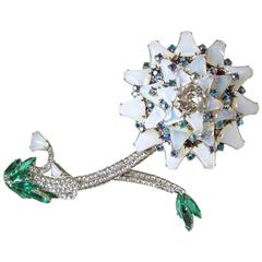 One-Of-A-Kind Huge Robert Sorrell Iridescent Moonstone Floral Brooch