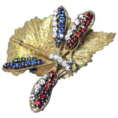 Vintage 1950s Signed Miriam Haskell Dragonfly Brooch