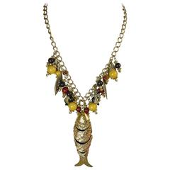 Vintage 1950's Articulated Fish and Multi-Colored Beaded Neckl