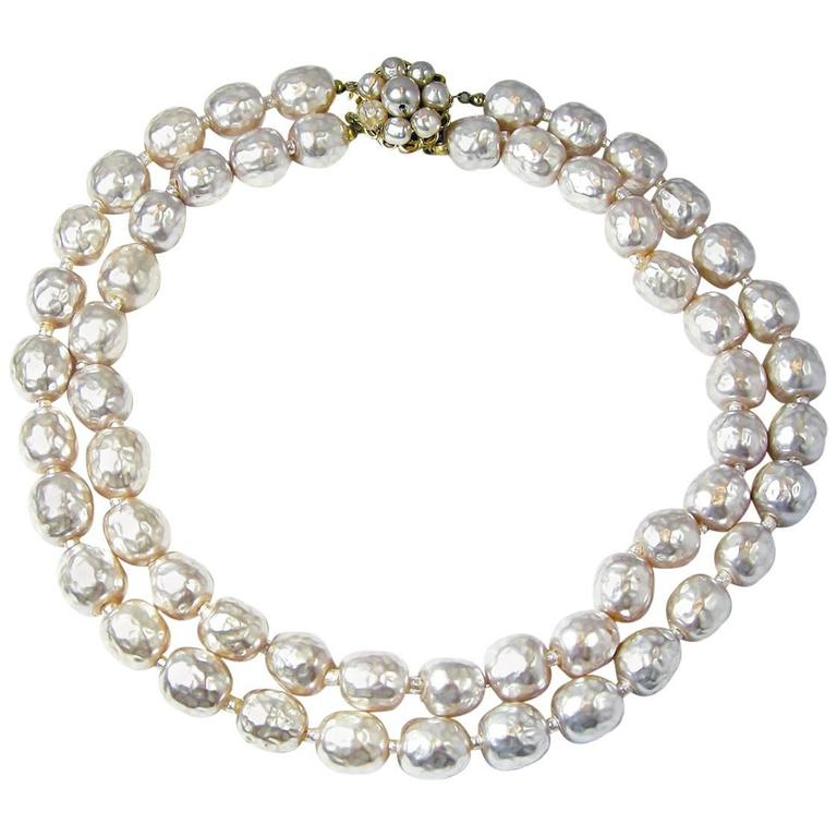 9a1aa1428bb66 Vintage Early 1950s Miriam Haskell Double Strand Faux Baroque Pearl Necklace