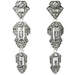 Vintage Art Deco Drop Rhinestone Earrings