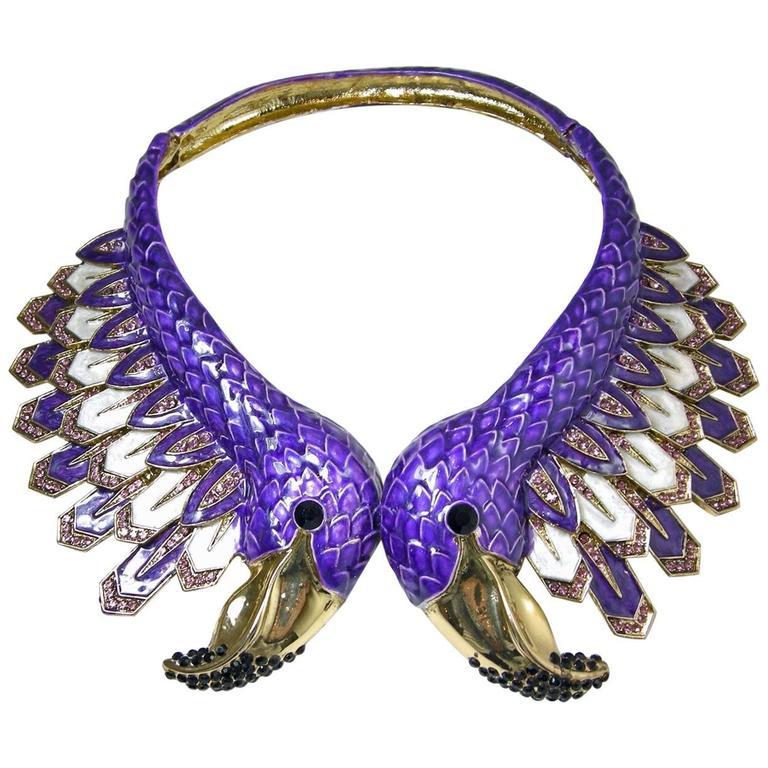Huge Purple Pelican Bird Collar Christian La Croix Necklace? 1