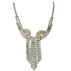 Large Vintage Rhinestone Cascade Tassel Necklace, 1950s