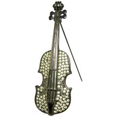 Rare 1970s Givenchy Paris Gunmetal Violin Brooch