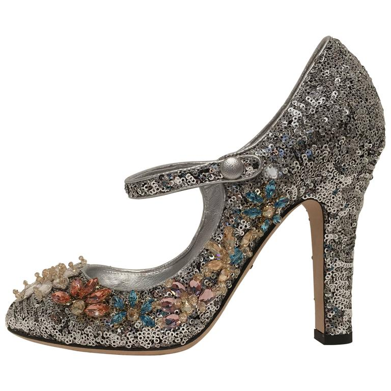 Dolce and Gabbana Sequined Mary Janes (50)