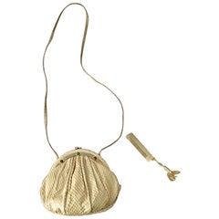 Vintage Judith Leiber Python Snakeskin Nude Tan Jeweled Shoulder Bag or Clutch