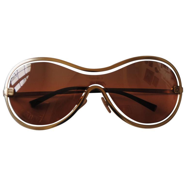 Chanel Peach Gold Sunglasses For Sale
