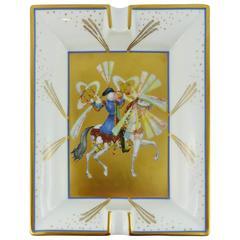 "Hermès Vintage Rare Porcelain Cigar Ashtray Pin Tray ""Feux d'Artifices"""