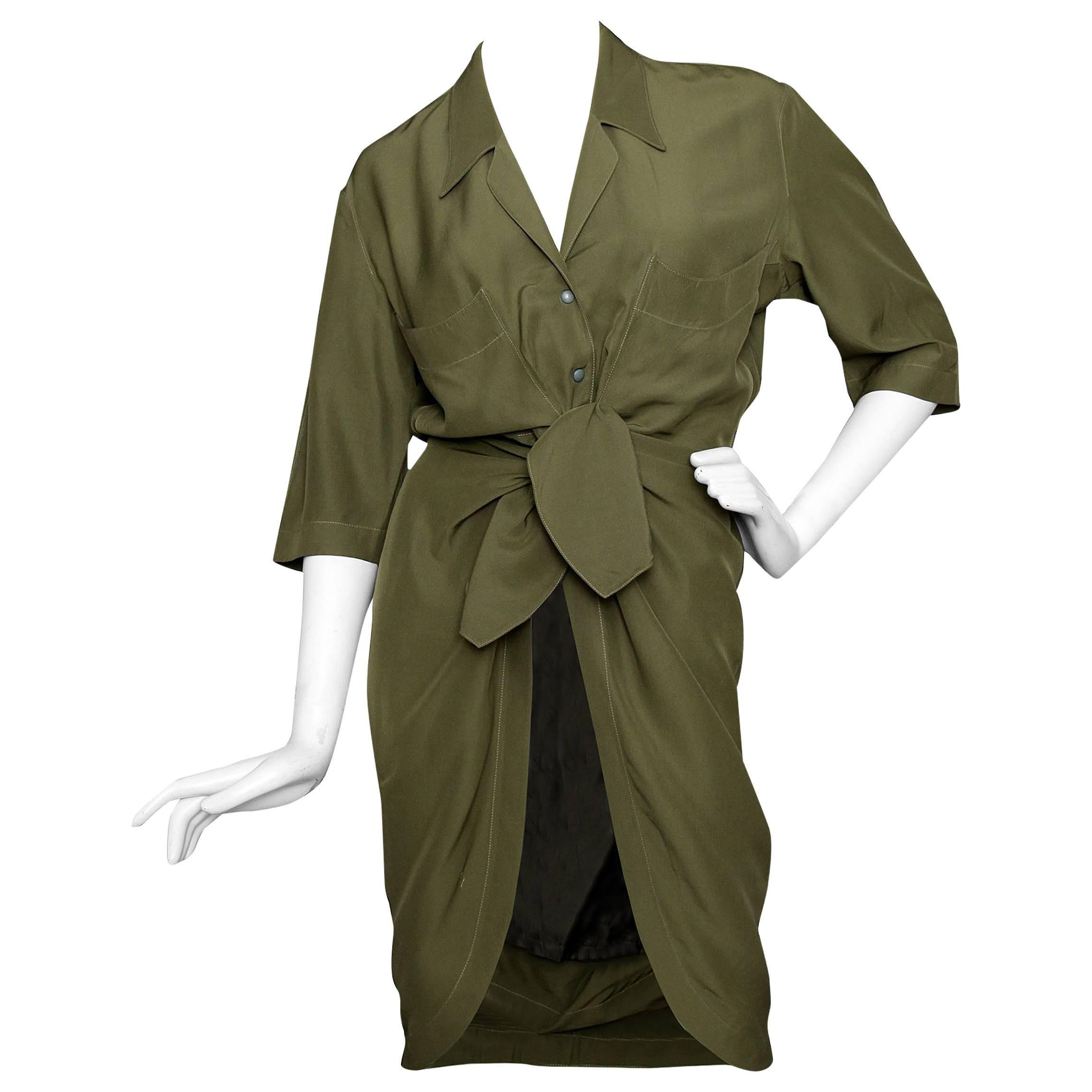 80s Thierry Mugler Forest Green Silk Shirt Dress For Sale At 1stdibs