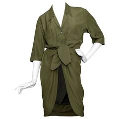 80s Thierry Mugler Forest Green Silk Shirt Dress