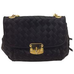 Bottega Veneta Black Satin Woven Crossbody Bag