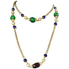 Chanel Pearl Crystal Necklace - Gripoix Glass Gold Multicolor Beaded Chain Charm