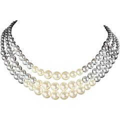 Chanel Pearl Ombre Necklace 2015 New - Gradient Black White Bead Multistrand CC