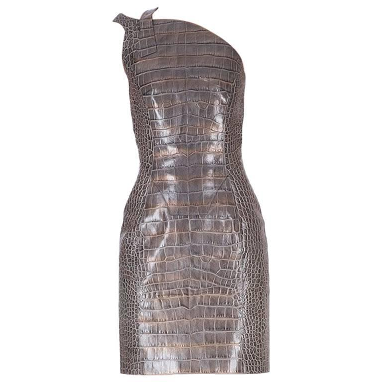 Versace crocodile print leather dress 1
