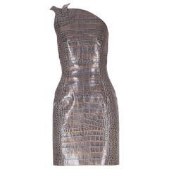Versace crocodile print leather dress
