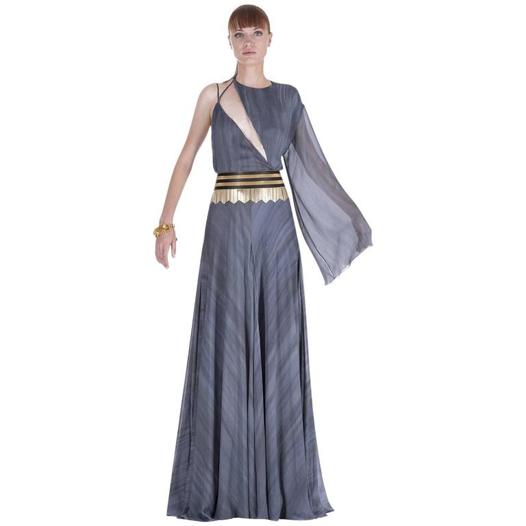 New VERSACE DOVE GREY GOWN with METAL FRINGE BELT For Sale