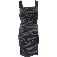 Dolce & Gabbana Black Satin Ruched Dress 42 uk 10