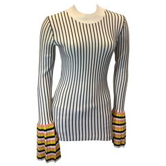 Emilio Pucci Stripped Sweater with Colored Pleated Cuff