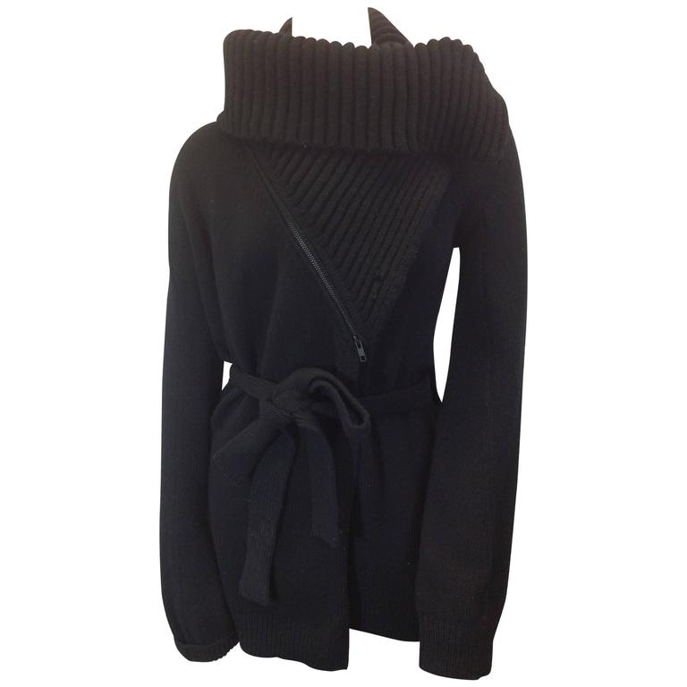 Ann Demeulemeester Black Wrap Cardigan with Waist Tie and ...