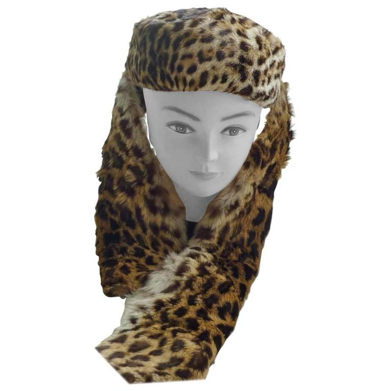 Vintage Animal Print Fur Pillbox Hat with a Scarf Attachment