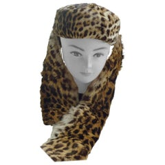 Vintage Leopard Print Fur Pillbox Hat with a Scarf Attachment