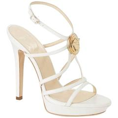 VERSACE PLATFORM WHITE LEATHER MEDUSA EMBELLISHED SANDALS New