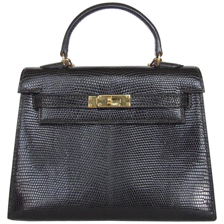 RARE Amazing Hermes Micro Kelly 15 cm Black Lizard GHW 3 ways Mini Bag For Sale