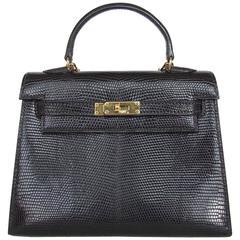 RARE Amazing Hermes Micro Kelly 15 cm Black Lizard GHW 3 ways Mini Bag