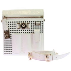 New VERSACE PERFORATED PATENT LEATHER WHITE CROSSBODY BAG