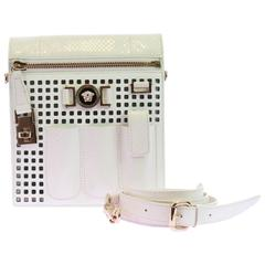 VERSACE PERFORATED PATENT LEATHER and SNAKESKIN WHITE CROSSBODY BAG