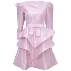 Sweet & Sassy 1980's Arnold Scaasi Pink Taffeta Party Dress
