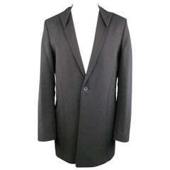 Men's THAMANYAH Coat - US38 IT48 Black Cotton Linen Jacket