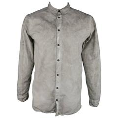 Men's SILENT by DAMIR DOMA Size L Grey Marbled Distressed Long Sleeve Shirt