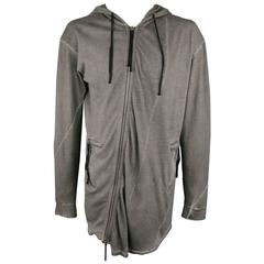 SILENT by DAMIR DOMA 42 Dark Gray Distressed Cotton Hoodie Jacket