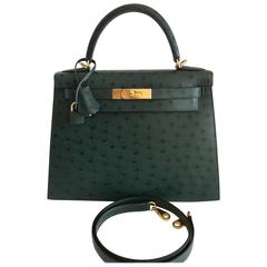 Hermes Kelly Sellier Ostrich Bag 28 Vert Titan Gold Hardware New