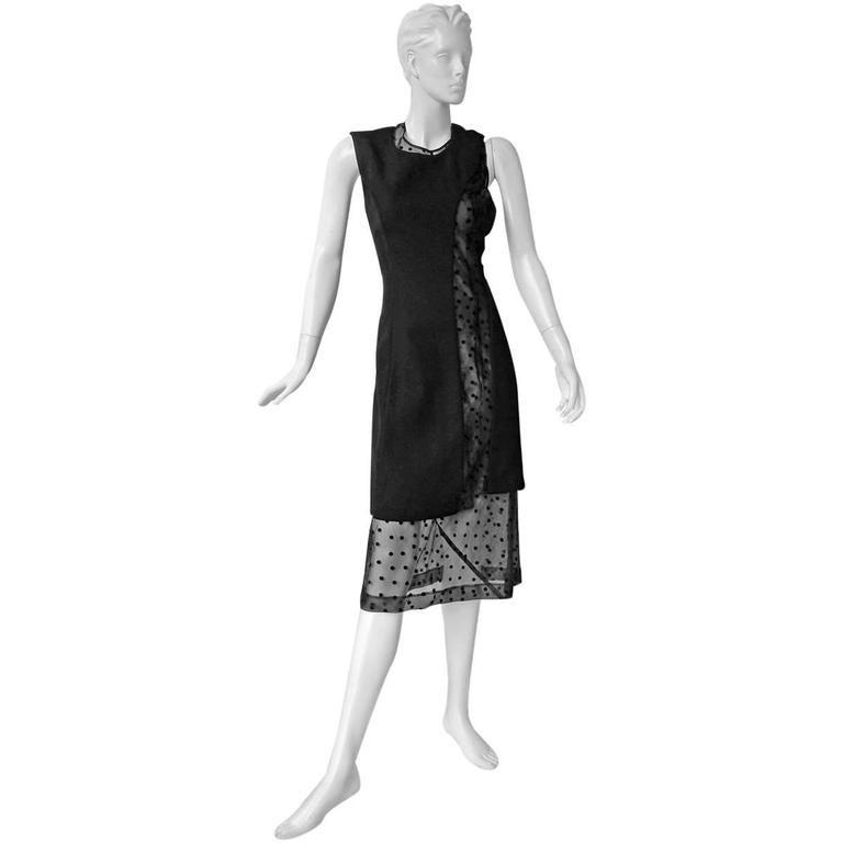 "New 1997 Comme des Garcons ""Rei of Light"" Polkadot Black Dress"