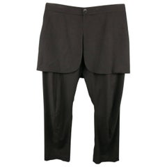 Men's THAMANYAH Size 30 Black Wool Blend Skirt Overlay Dress Pants