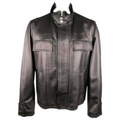 Men's DOLCE & GABBANA 44 Black High Collar Hidden Placket Leather Jacket