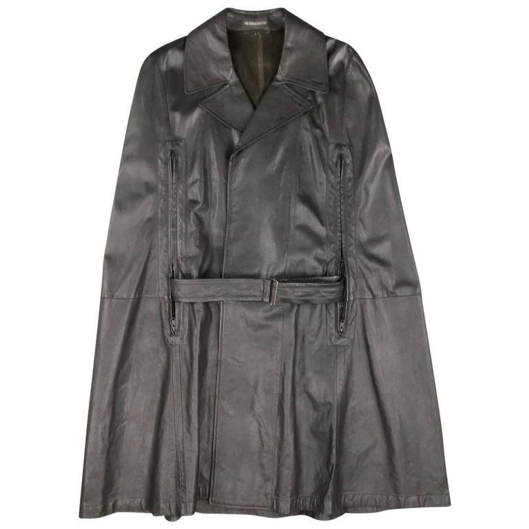 ANN DEMEULEMEESTER 38 Black Leather Double Breasted Pointed Lapel Cape 1