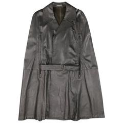 ANN DEMEULEMEESTER 38 Black Leather Double Breasted Pointed Lapel Cape