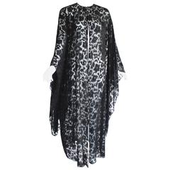 Nina Ricci Couture Black Floral Devoré  Silk Kimono Sleeve Caftan  Dress