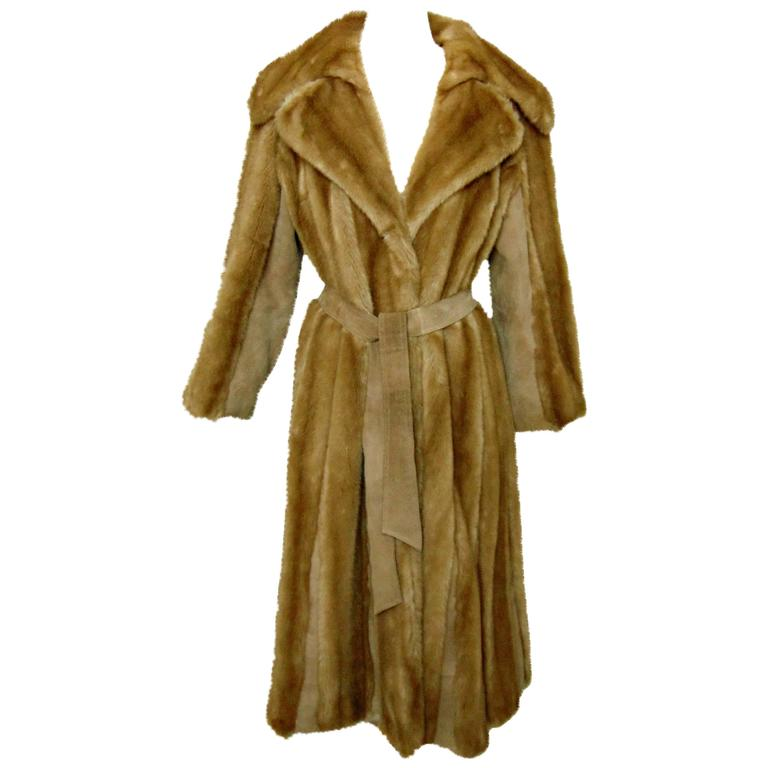 Chic Lilli Ann Full Length Belted Faux Blond Mink Fur + Suede Coat 1960s Sz16 1