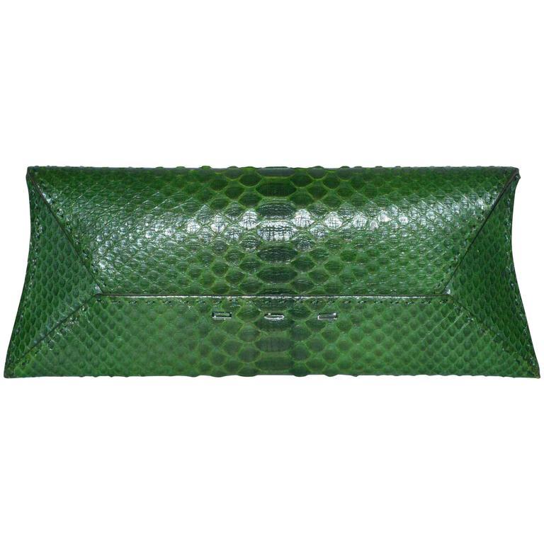 VBH Green Python Clutch