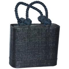 Renaud Pellegrino Black Straw Top Handle Bag