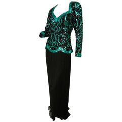 Fabulous Evening Gown Niteline by Della Roufogali Green Sequins New Tags Size 6